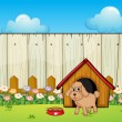 A dog with a dog house inside the fence - Stock Vector