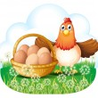 Stock Vector: Hen with eggs in basket