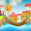 Royalty-Free Stock Vector Image: A burning village rescued by a fireman