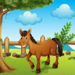 Stock Vector: A horse under the tree