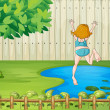 A girl diving into the water — Stock Vector