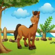 Happy brown horse inside a fence — Stock Vector