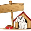 A dog inside the dog house with a wooden signboard - Stock Vector