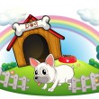 A dog in a doghouse with fence - Stock Vector