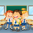 Three children smiling inside the classroom - Stock Vector