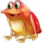 Постер, плакат: An orange frog with green eyes