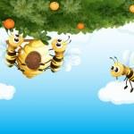 drie bijen met een bijenkorf — Stockvector