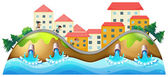 A village with three childrens running along the drainage — Stock Vector