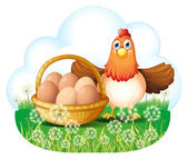 A hen with eggs in a basket — Stock Vector