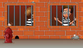 Two boys inside the jail — Stock Vector