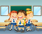 Three children smiling inside the classroom — Stock Vector