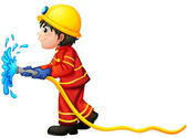 A fireman holding a water hose — Stock Vector