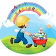 A boy with a helmet pushing the eggs and the bunny — Stock Vector