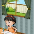 A girl with a headband writing — Stockvector #21322725