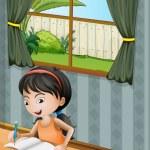 鉢巻き書面を持つ少女 — ストックベクタ