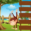 An ape beside the empty wooden signboards — Stock Vector