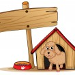 A cute dog at his dog house — Vettoriali Stock