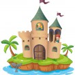 A castle in an island — Stock Vector