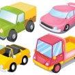 Four colorful vehicles - Image vectorielle