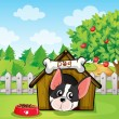 Stock Vector: A dog inside a dog house at a backyard with an apple tree