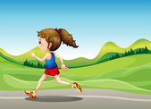 The female runner — Vettoriale Stock