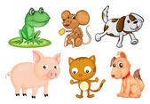 Differrent kinds of land animals — Stock Vector
