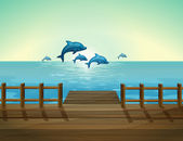 Six dolphins diving — Stock Vector