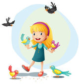 A girl playing with the birds — Stock Vector