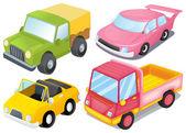 Quatre véhicules colorés — Vecteur