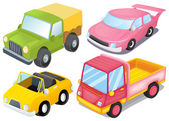 Vier kleurrijke voertuigen — Stockvector