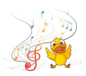 The singing chick — Stock Vector