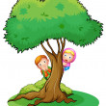 Kids hiding at the big tree — Stock Vector #21499171