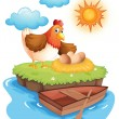 A hen with eggs in an island — Stock Vector