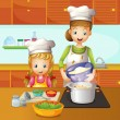 A mother and daughter cooking - Stock Vector