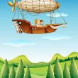 Stock Vector: Girls riding in airship