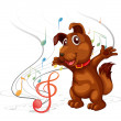 Stock Vector: The singing dog