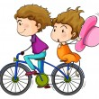 Stock Vector: Lovers riding a bike