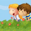 Royalty-Free Stock Vector Image: A boy and a girl in the garden
