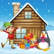 A wooden house with an elf and a penguin — Stock Vector