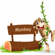 Stock Vector: Smiling monkey beside signage