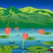 The water lilies and flowers at the lake - Stock Vector