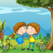 A girl and a boy dancing at the park — Imagen vectorial