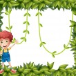 Stock Vector: Boy showing leafy frame with vine plants