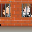 Stock Vector: Two boys inside jail