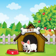 A bulldog outside its dog house with a dog food — Stock Vector #21505391
