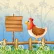 Royalty-Free Stock Vector Image: A hen above a wooden fence facing a wooden signboard