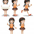 Stock Vector: Five different positions of a girl