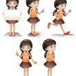 Stock Vector: Five different positions of girl