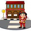 A fireman holding a fire extinguisher - Stock Vector