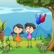 A girl and a boy dating in the garden - Imagen vectorial